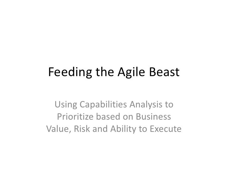 Feeding the Agile Beast<br />Using Capabilities Analysis to Prioritize based on Business Value, Risk and Ability to Execut...