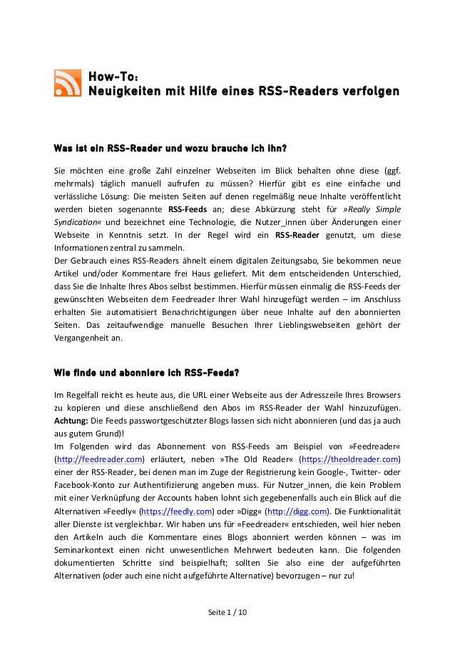 Seite  1  /  10     How-To: Neuigkeiten mit Hilfe eines RSS-Readers verfolgen             Was ist ein ...