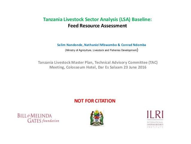 Tanzania Livestock Sector Analysis (LSA) Baseline: Feed Resource Assessment Tanzania Livestock Master Plan, Technical Advi...