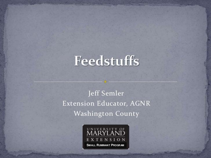 Jeff SemlerExtension Educator, AGNR   Washington County      SMALL RUMINANT PROGRAM