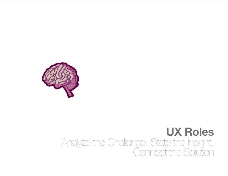 UX Roles Understand Relationships Between Brand, Product,                                        + People