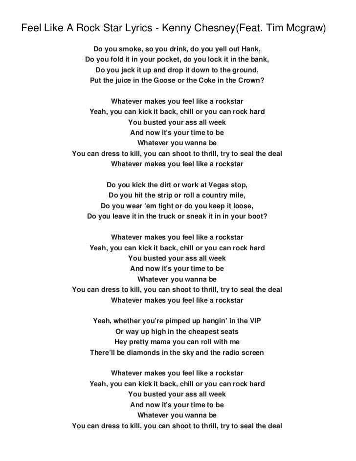 Feel Like A Rock Star Lyrics - Kenny Chesney