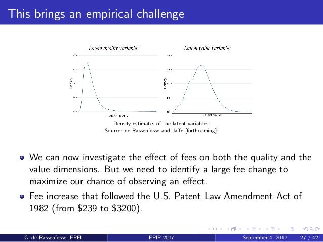 This brings an empirical challenge Density estimates of the latent variables. Source: de Rassenfosse and Jaffe [forthcoming...