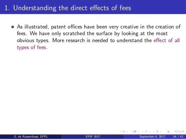 1. Understanding the direct effects of fees As illustrated, patent offices have been very creative in the creation of fees. W...