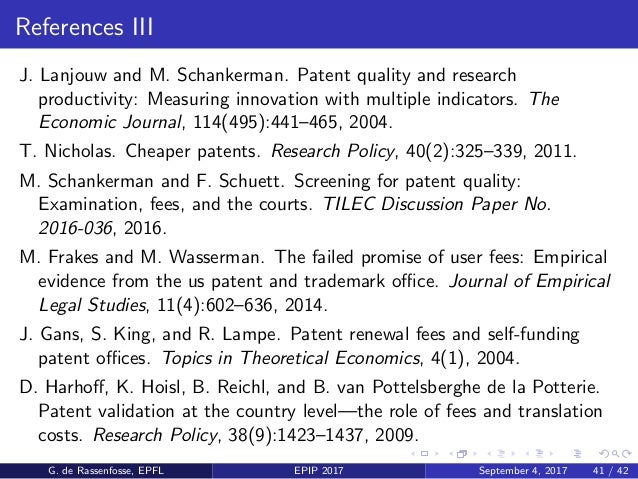 References IV E. Martin and H. Stahn. Should we reallocate patent fees to the universities? Economics of Innovation and Ne...