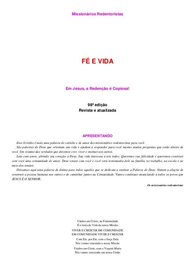 Missionários Redentoristas                                                 FÉ E VIDA                                      ...