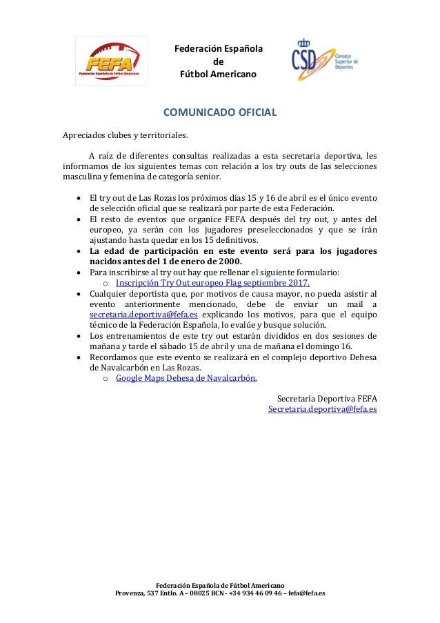 Federación Española de Fútbol Americano Federación Española de Fútbol Americano Provenza, 537 Entlo. A – 08025 BCN - +34 9...