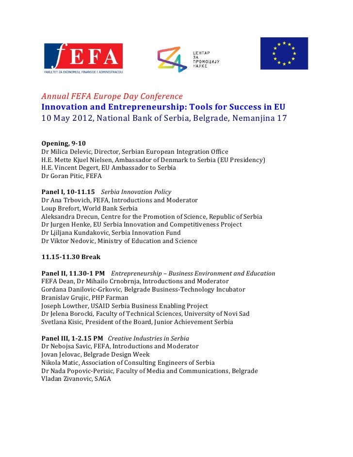 Annual	  FEFA	  Europe	  Day	  Conference	  Innovation	  and	  Entrepreneurship:	  Tools	  for	  Success	  in	  EU	  1...