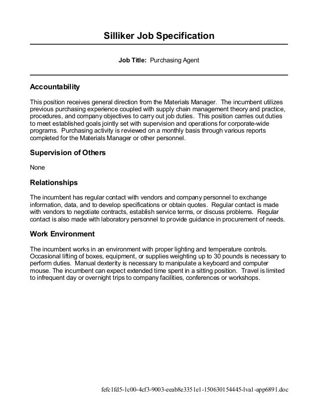 ... 4. Silliker Job Specification Job Title: Purchasing Agent ...