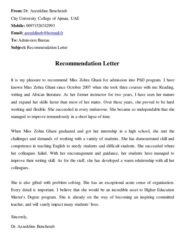 recommendation letter from dr bencherab from dr azzeddine bencherab city university college of ajman uae mobile 00971526742993