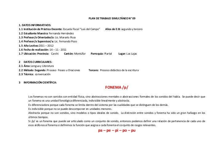 """PLAN DE TRABAJO SIMULTÁNEO N° 091. DATOS INFORMATIVOS:1.1 Institución de Práctica Docente: Escuela Fiscal """"Luis del Campo""""..."""