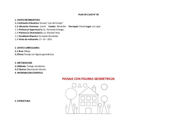 """PLAN DE CLASE N° 091. DATOS INFORMATIVOS1.1 Institución Educativa: Escuela """"Luis del Campo""""1.2 Ubicación: Provincia: Carch..."""