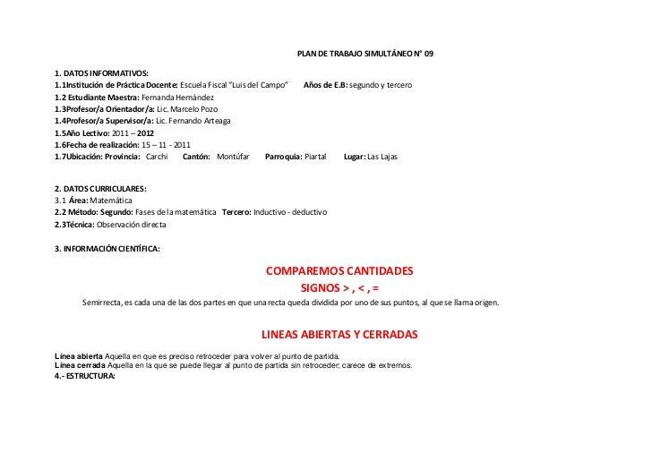 """PLAN DE TRABAJO SIMULTÁNEO N° 091. DATOS INFORMATIVOS:1.1Institución de Práctica Docente: Escuela Fiscal """"Luis del Campo"""" ..."""