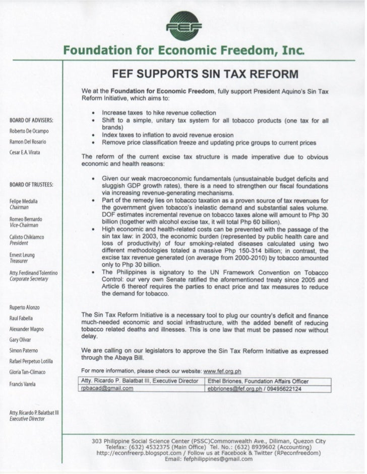 FEF Supports Sin Tax Reform