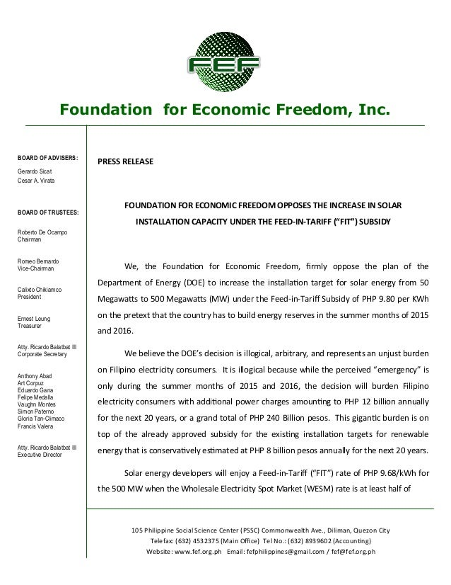 Foundation for Economic Freedom, Inc. BOARD OF ADVISERS: Gerardo Sicat Cesar A. Virata BOARD OF TRUSTEES: Roberto De Ocamp...