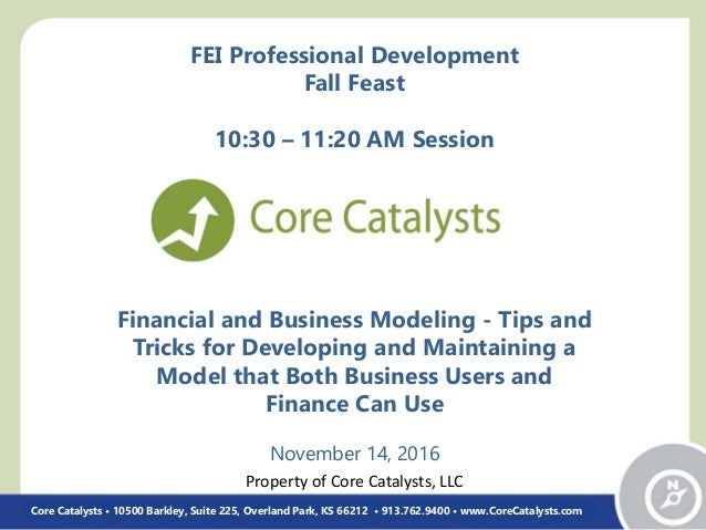 Financial and Business Modeling - Tips and Tricks for Developing and Maintaining a Model that Both Business Users and Fina...