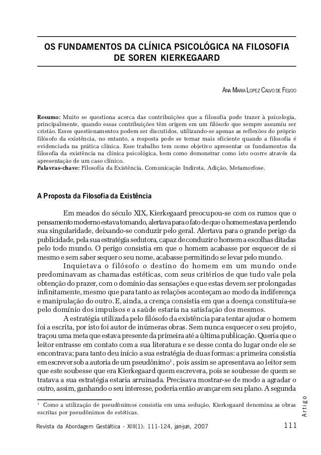 OS FUNDAMENTOS DA CLÍNICA PSICOLÓGICA NA FILOSOFIA                DE SOREN KIERKEGAARD                                    ...