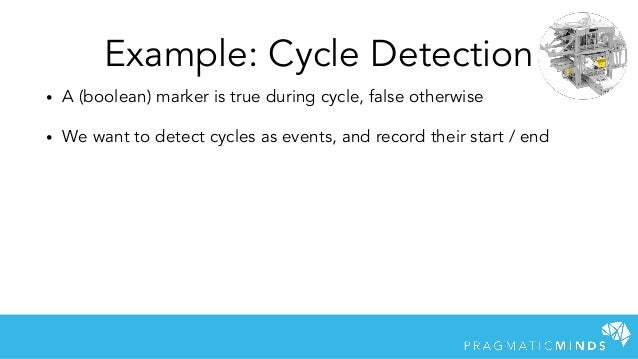 Example: Cycle Detection • A (boolean) marker is true during cycle, false otherwise • We want to detect cycles as events, ...