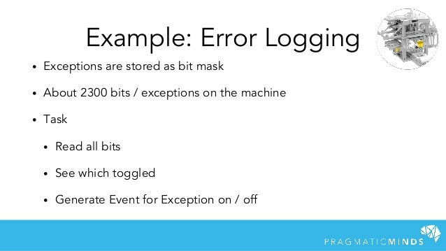 Example: Error Logging • Exceptions are stored as bit mask • About 2300 bits / exceptions on the machine • Task • Read all...