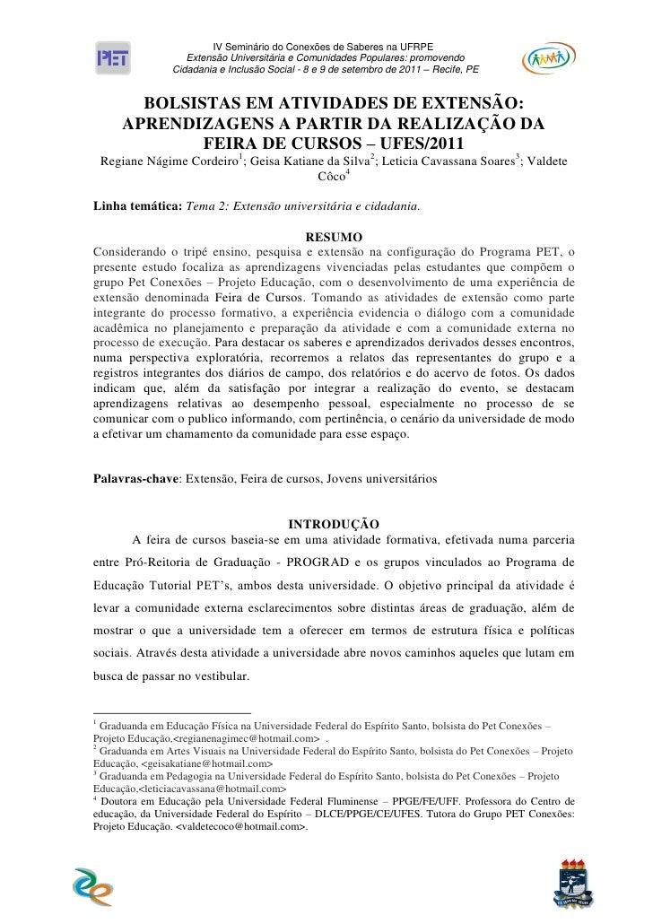 IV Seminário do Conexões de Saberes na UFRPE                    Extensão Universitária e Comunidades Populares: promovendo...