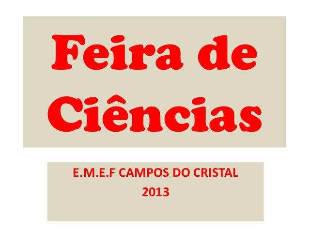 Feira de Ciências E.M.E.F CAMPOS DO CRISTAL 2013