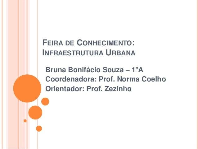 FEIRA DE CONHECIMENTO: INFRAESTRUTURA URBANA Bruna Bonifácio Souza – 1ºA Coordenadora: Prof. Norma Coelho Orientador: Prof...