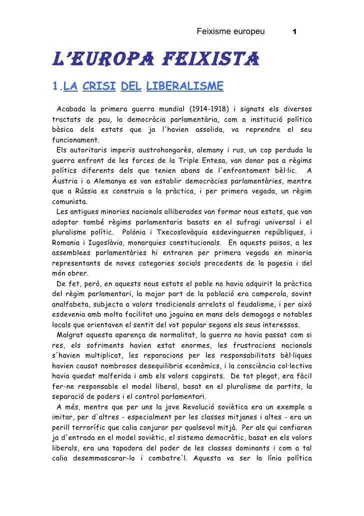 Feixisme europeu              1    L'Europa FEixista 1.LA CRISI DEL LIBERALISME   Acabada la primera guerra mundial (1914-...