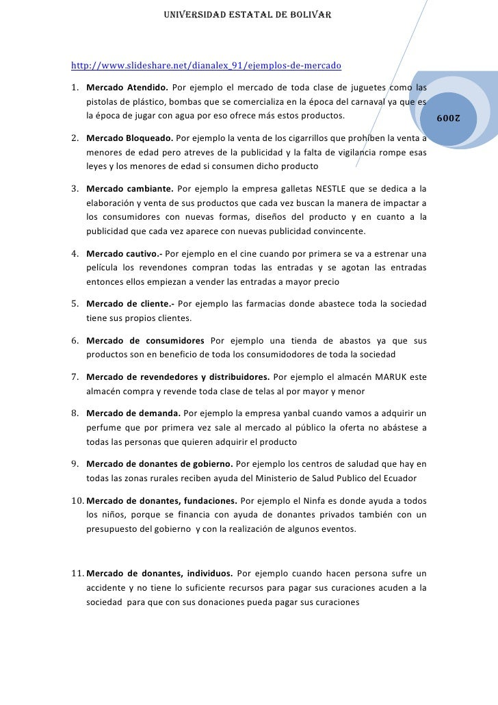 UNIVERSIDAD EStAtAl DE BOlIVARhttp://www.slideshare.net/dianalex_91/ejemplos-de-mercado1. Mercado Atendido. Por ejemplo el...