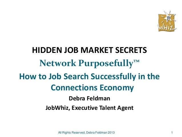 1 HIDDEN JOB MARKET SECRETS Network Purposefully™ How to Job Search Successfully in the Connections Economy Debra Feldman ...