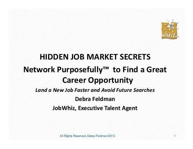 1HIDDEN JOB MARKET SECRETSNetwork Purposefully™ to Find a GreatCareer OpportunityLand a New Job Faster and Avoid Future Se...