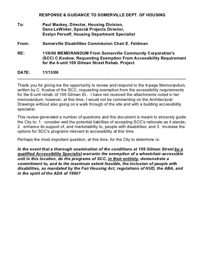 RESPONSE & GUIDANCE TO SOMERVILLE DEPT. OF HOUSINGTo:           Paul Mackey, Director, Housing Division,              Dana...