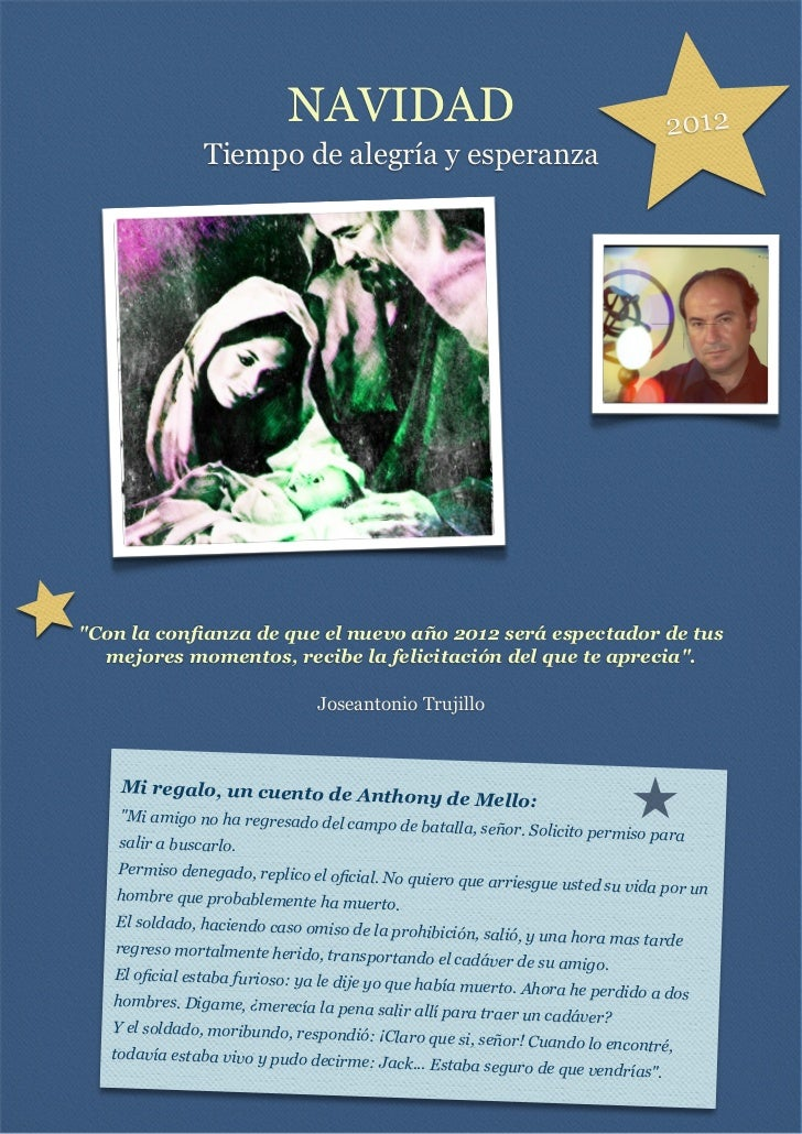 """NAVIDAD                                                 2012                Tiempo de alegría y esperanza""""Con la confianza ..."""