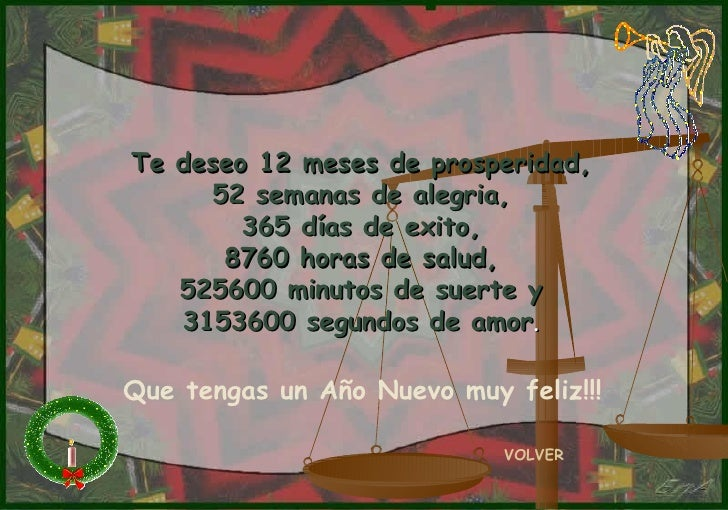 Te deseo 12 meses de prosperidad, 52 semanas de alegria, 365 días de exito, 8760 horas de salud, 525600 minutos de suerte ...
