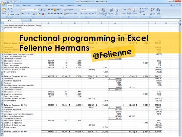 Functional programming in Excel Felienne Hermans @Felienne