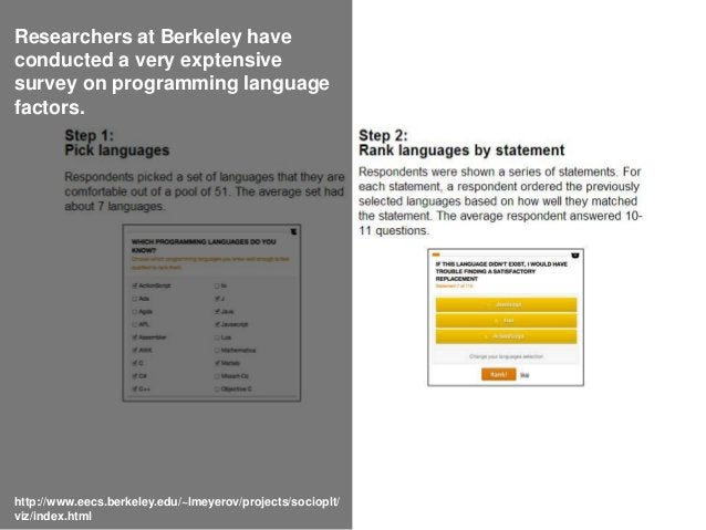 Researchers at Berkeley have conducted a very exptensive survey on programming language factors. http://www.eecs.berkeley....