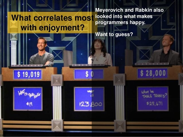 What correlates most with enjoyment? Meyerovich and Rabkin also looked into what makes programmers happy. Want to guess?