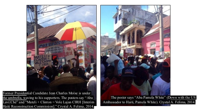 """Former Presidential Candidate Jean Charles Moïse is under the umbrella, waving to his supporters. The posters say """"Aba Lav..."""