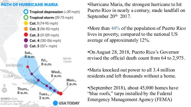 •Hurricane Maria, the strongest hurricane to hit Puerto Rico in nearly a century, made landfall on September 20th 2017. •M...