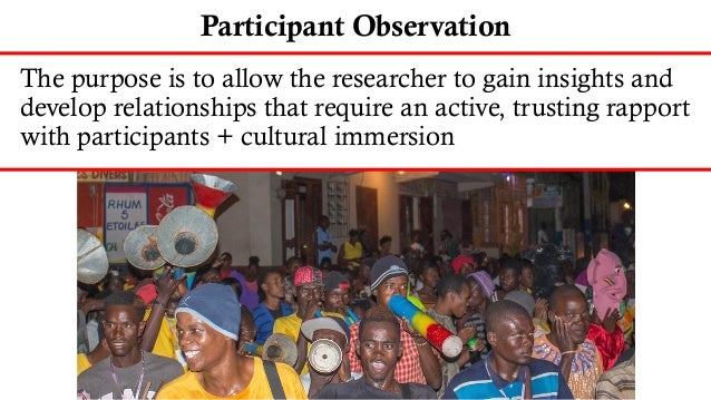 Weaknesses of Participant Observation • Smaller research sample • Data can be hard to code or categorize • Time-consuming ...