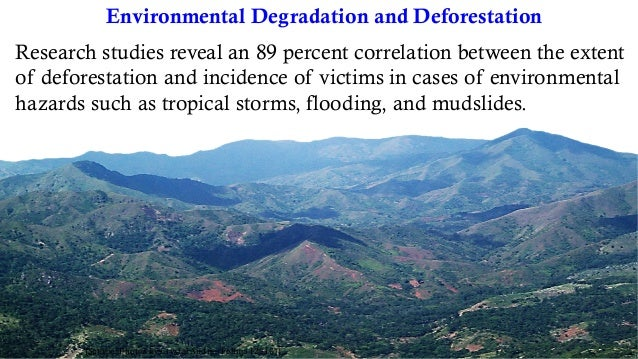 Environmental Degradation and Deforestation [Source:PhotosbyCrystalAndreaFelima(2010)] Research studies reveal an 89...