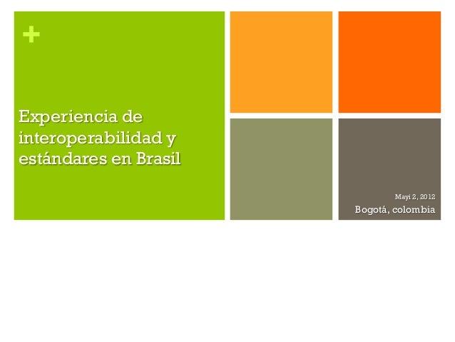 +Experiencia deinteroperabilidad yestándares en Brasil                              Mayi 2, 2012                       Bog...