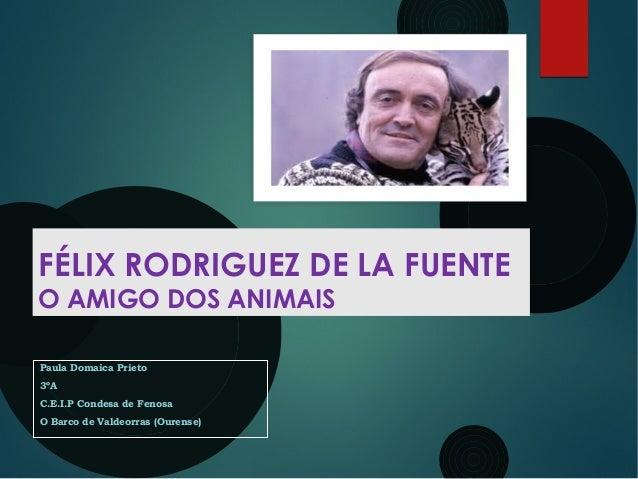 FÉLIX RODRIGUEZ DE LA FUENTE O AMIGO DOS ANIMAIS Paula Domaica Prieto 3ºA C.E.I.P Condesa de Fenosa O Barco de Valdeorras ...