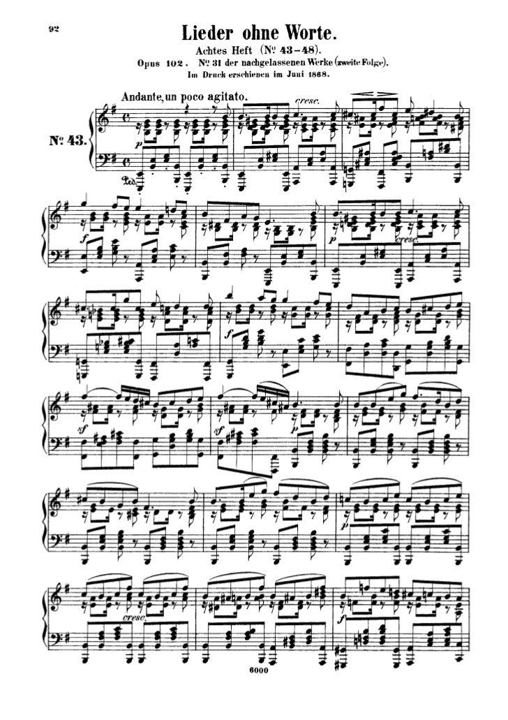 Felix mendelssohn   romances sans paroles - 6 pieces - op. 102