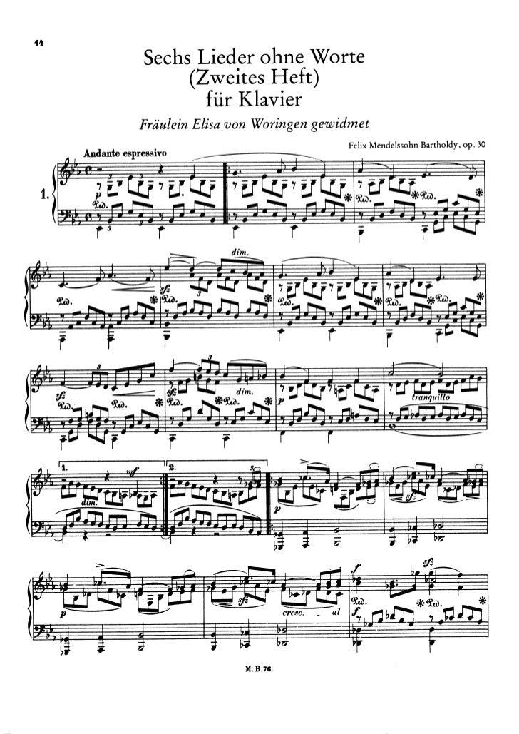 Felix mendelssohn   romances sans paroles - 6 pieces - op. 30