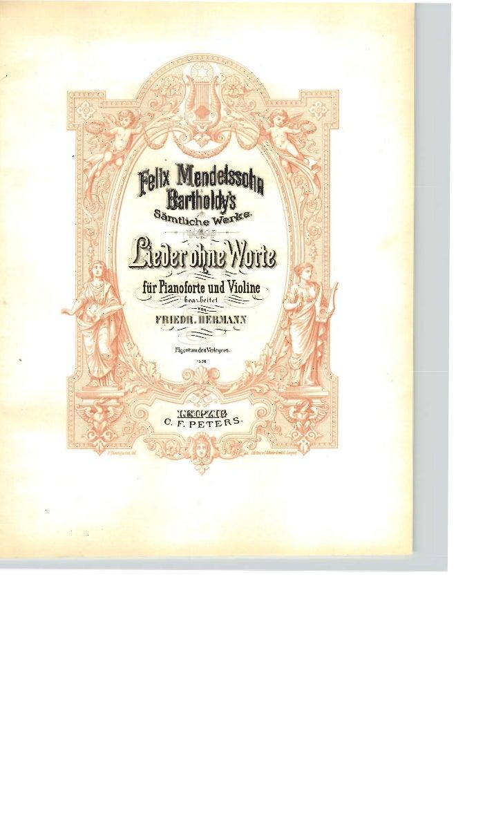 Felix mendelssohn   romances sans paroles pour piano et violon - 6 opus - violon