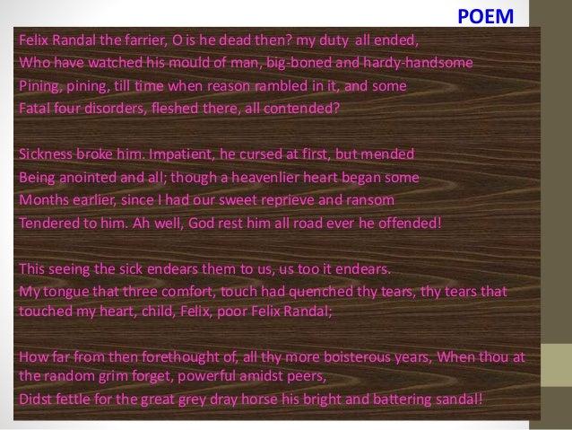 felix randal poem analysis shmoop