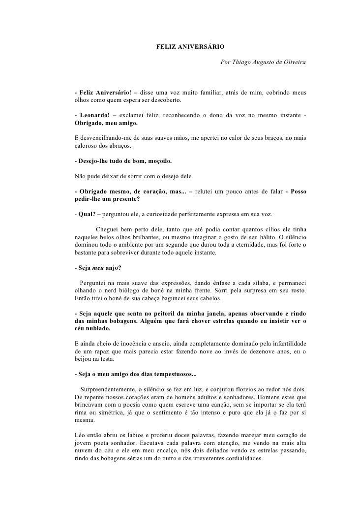 FELIZ ANIVERSÁRIO                                                        Por Thiago Augusto de Oliveira    - Feliz Anivers...