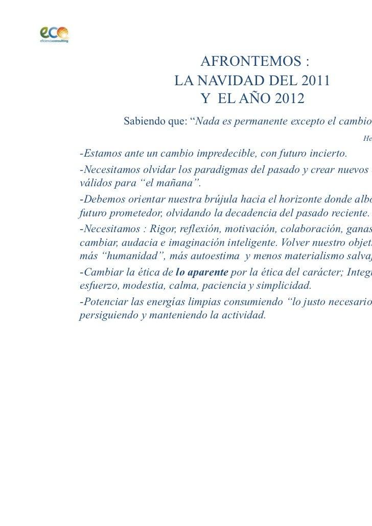 """AFRONTEMOS :                    LA NAVIDAD DEL 2011                       Y EL AÑO 2012         Sabiendo que: """" ada es per..."""