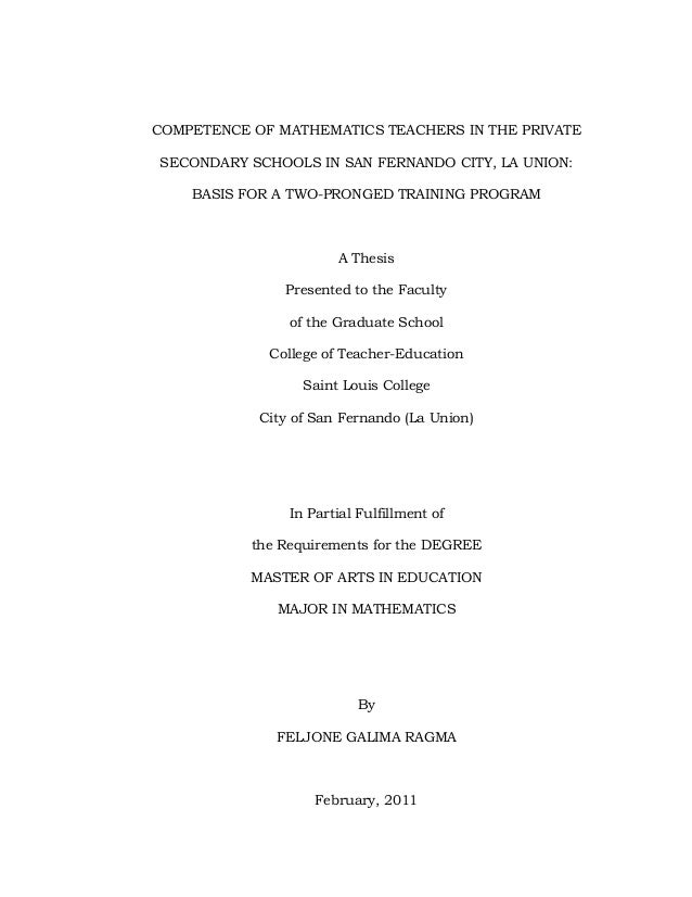 COMPETENCE OF MATHEMATICS TEACHERS IN THE PRIVATE SECONDARY SCHOOLS IN SAN FERNANDO CITY, LA UNION: BASIS FOR A TWO-PRONGE...