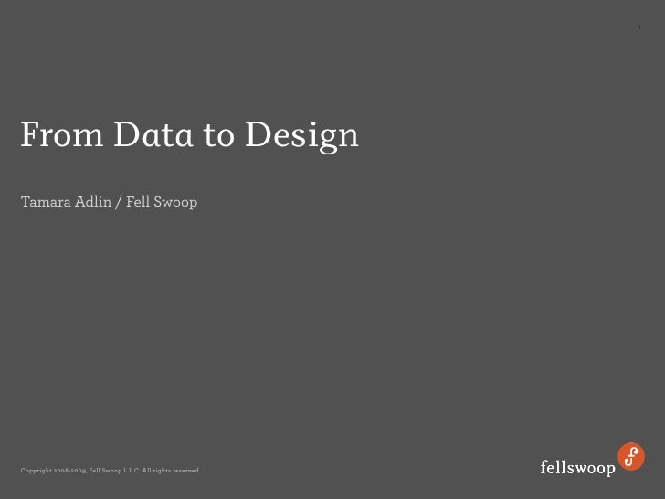 1     From Data to Design Tamara Adlin / Fell Swoop     Copyright 2008-2009, Fell Swoop L.L.C. All rights reserved.